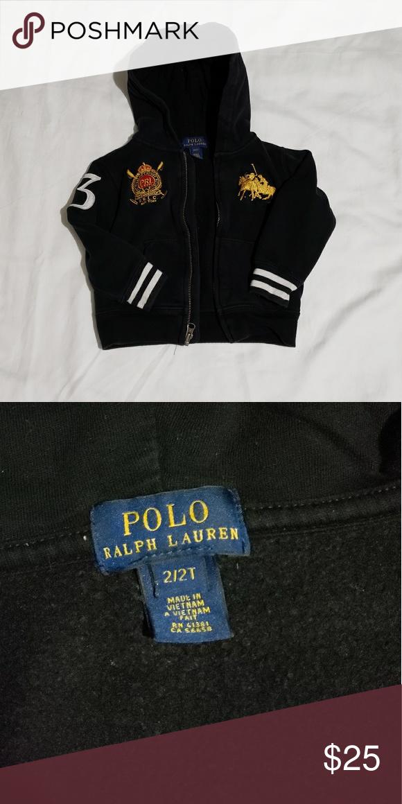 Polo Ralph Lauren Sweater Pre Owned Black Hooded Sweater With Gold Logo Polo By Ralph Lauren Jackets Coat Clothes Design Fashion Design Ralph Lauren Jackets