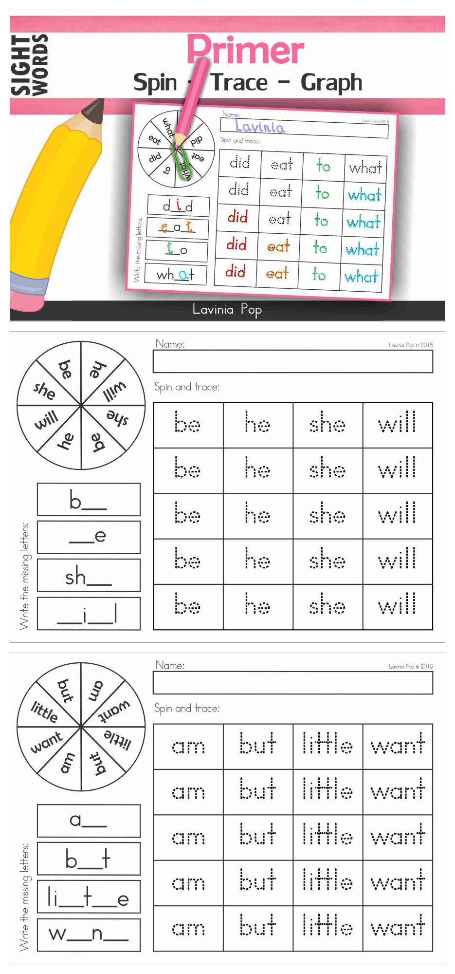 Sight Words Word Work Center Primer Sight Words Spin Trace Graph Laminate Or Put Into Plastic Reading Specialist Ideas Sight Words Sight Word Centers