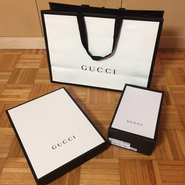 "351b4e4e9af8 Gucci Boxes & Bag & tissue paper. One box flat thin 16""x12""x1.75"", other box  is shoe box Mercari"
