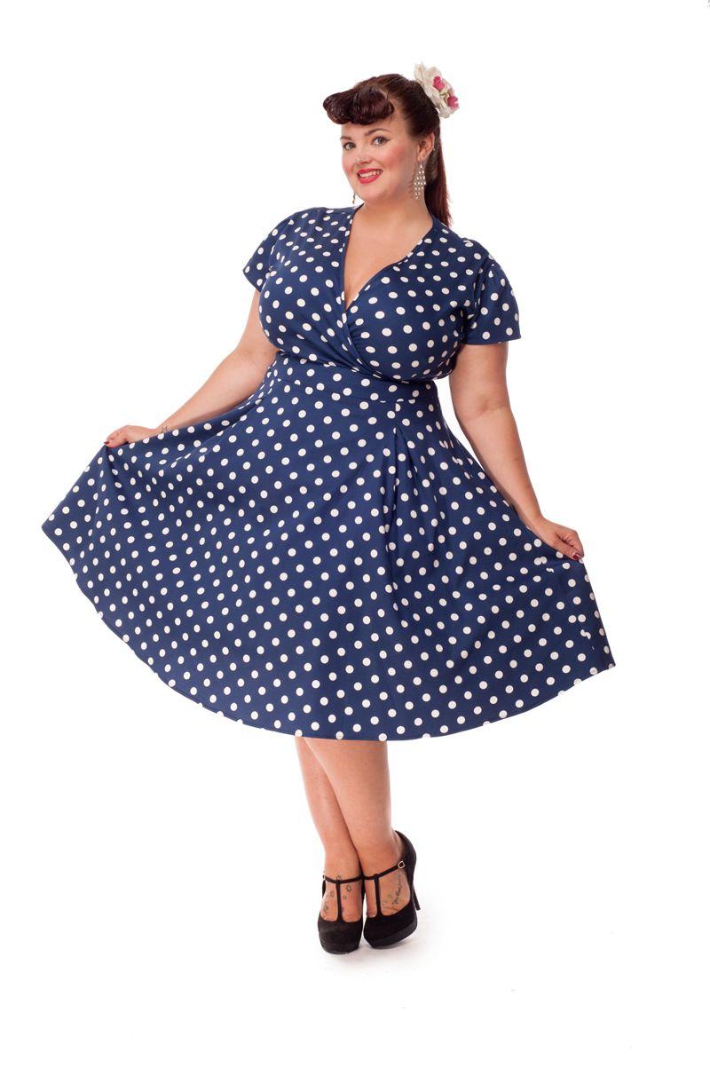 Vintage style clothes london  Navy Polka Dot Estella Dress | Pinterest