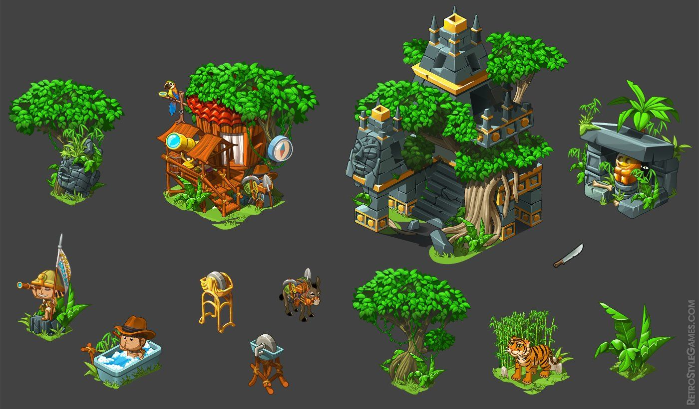 Isometric Background and Asset Examples on Level 1