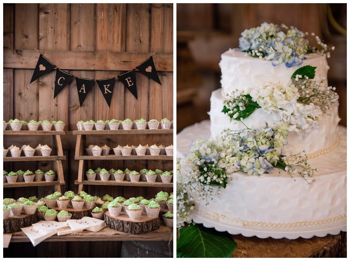Barn wedding cake table ideas  Brad u Valerieus Brooklee Farm Wedding Strasburg VA  Barn