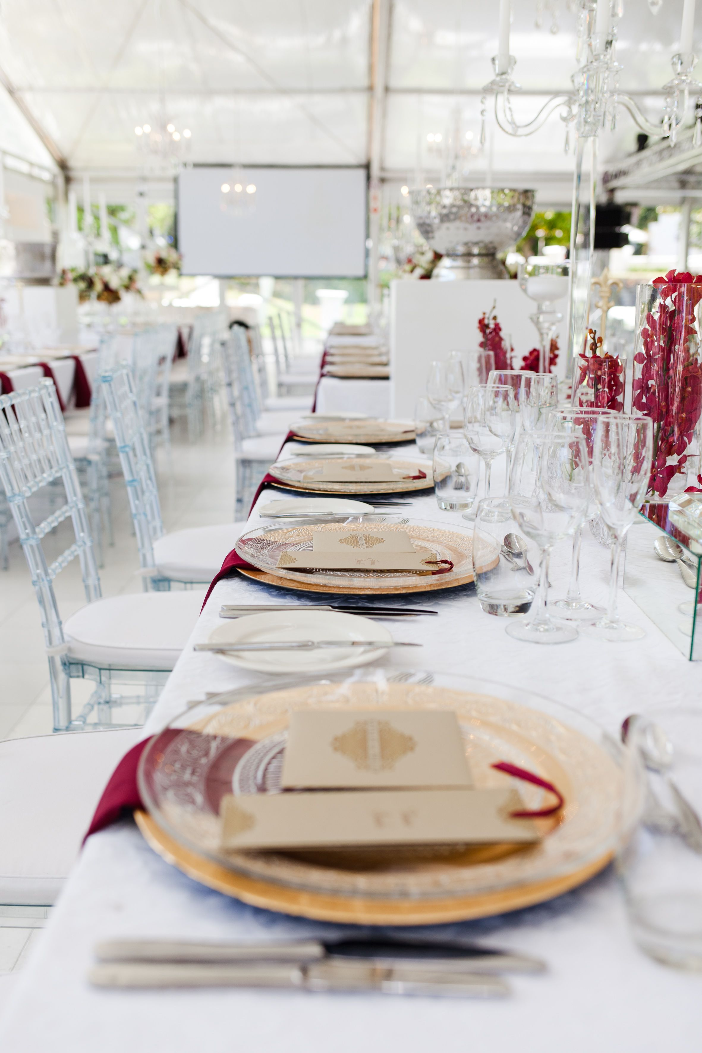 Elegant White, Gold and Burgundy Wedding   Table Setting   Sorrento Events