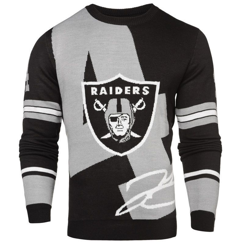 c00bd0d79 Derek Carr Oakland Raiders Klew Loud Player Crew Neck Sweater - Black