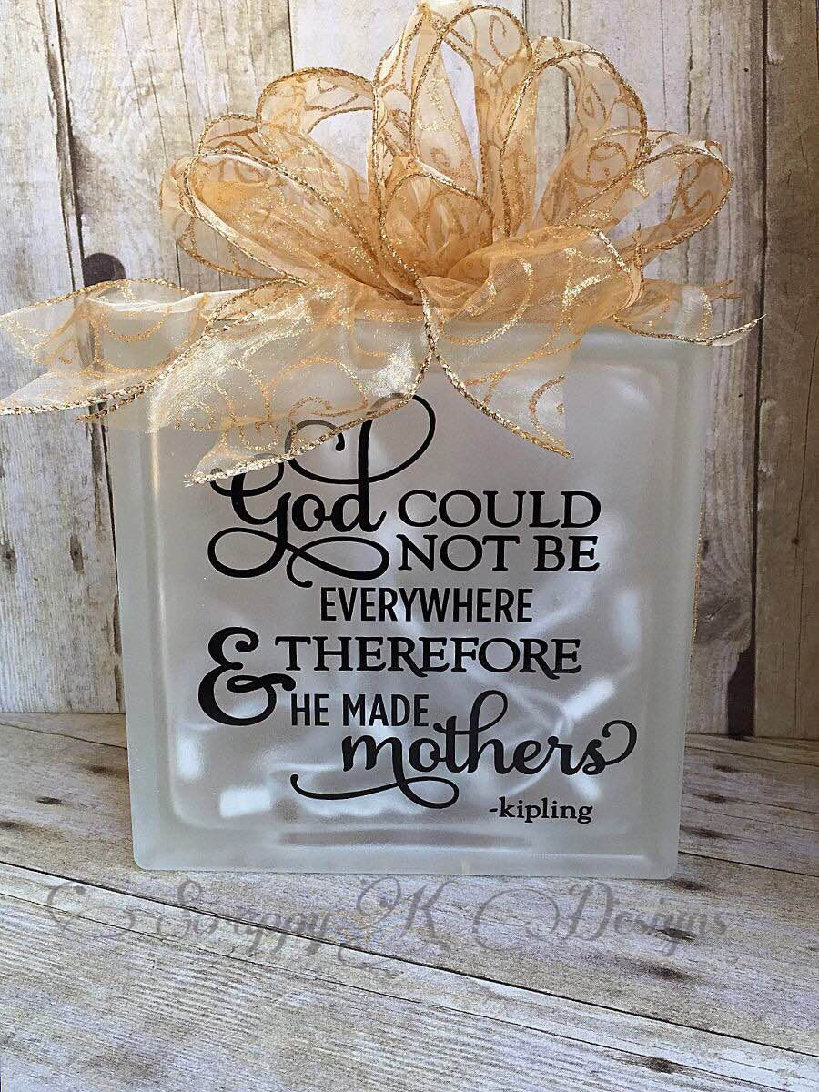 God Made Mothers Custom Glass Block, Mother's Day, Grandma