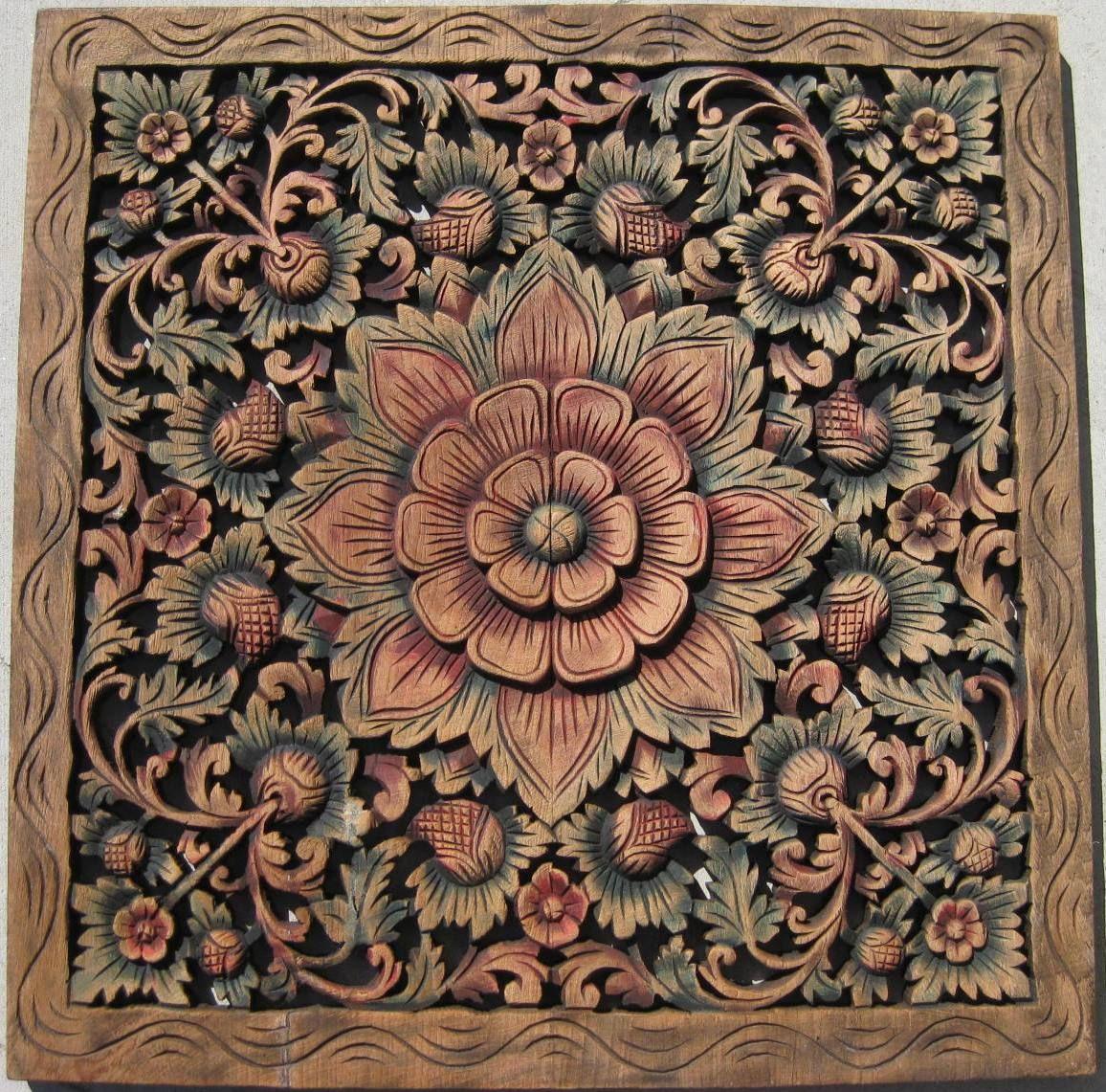 Wpssj400 Teak Panel Hand Carved Teak Carved Wall Art Wood Carving Furniture