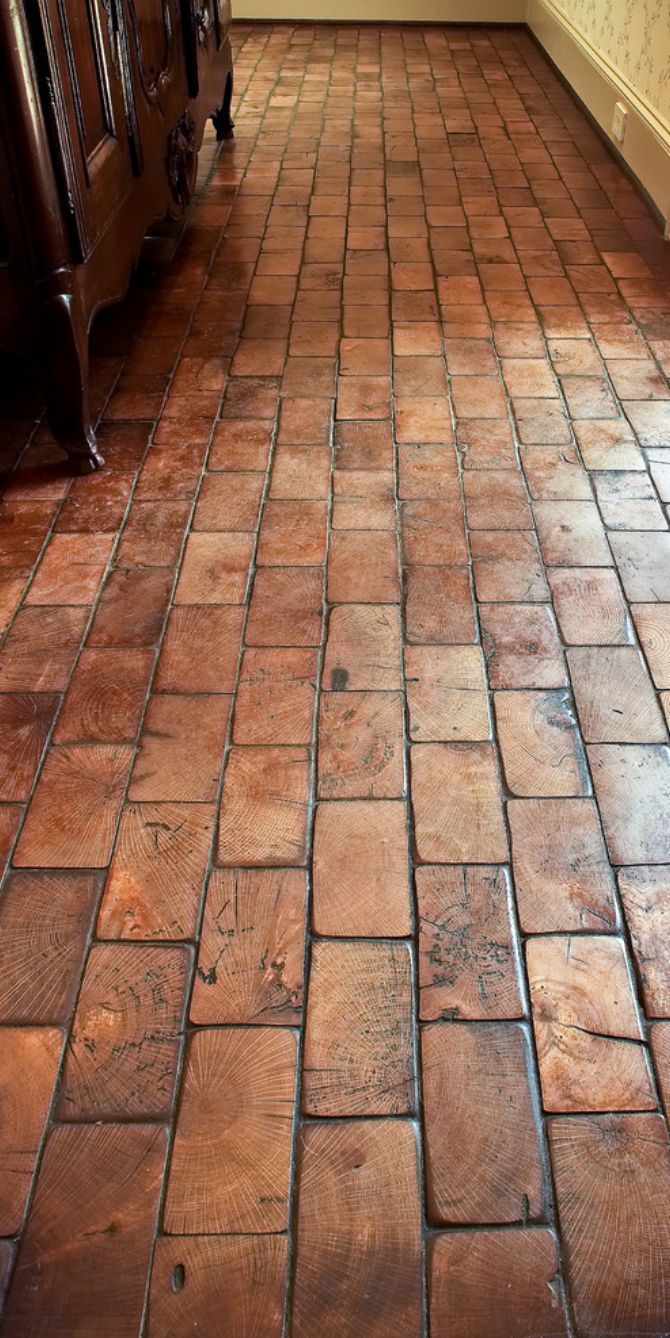 Wooden texture that looks like brick homeology old world mediterranean italian spanish tuscan homes decor old railroad tiles cut on end to create a brick like floor dailygadgetfo Image collections