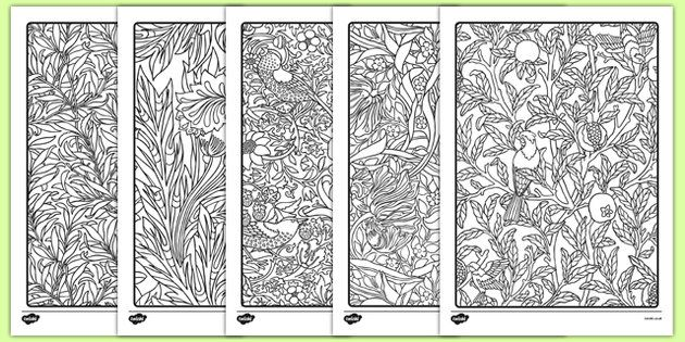 William Morris Themed Mindfulness Colouring Sheets Mindfulness Colouring Mindfulness Colouring Sheets William Morris