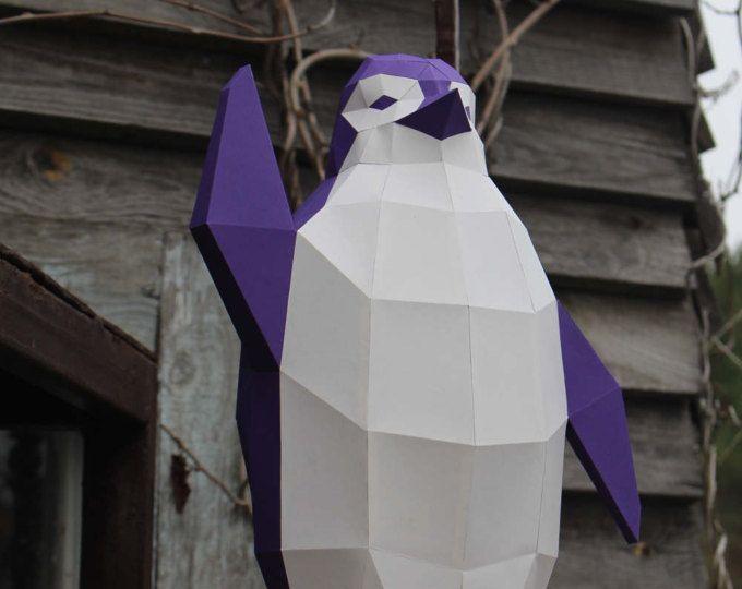 Waving Penguin papercraft - printable DIY pdf template Notre - faire son plan de maison en 3d