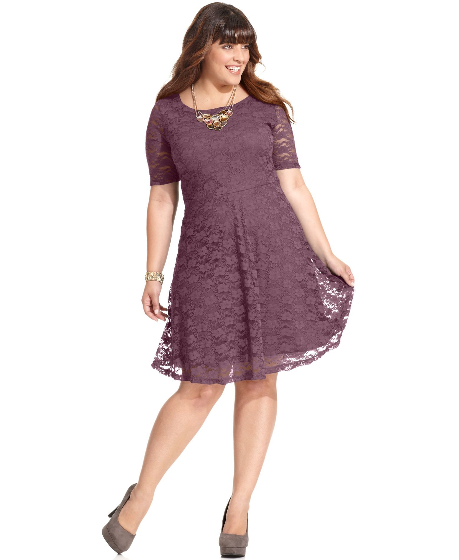 Love Squared Plus Size Short-Sleeve Lace A-Line Dress   Plus Size ...