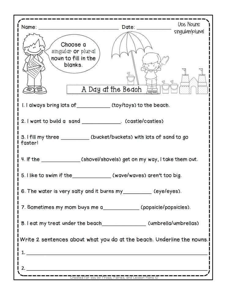 17 1st grade worksheet on nouns in 2020