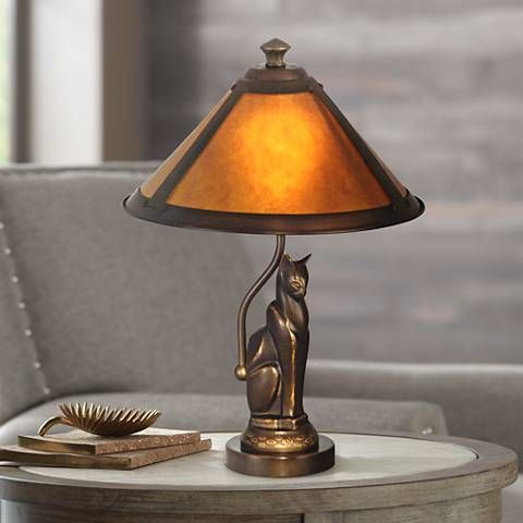 Dale tiffany bronze cat accent lamp with ginger mica shade tiffany candelabra bulbs and cat