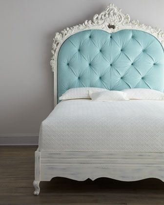 tiffany blue and white tufted headboard. Florence de Dampierre ...
