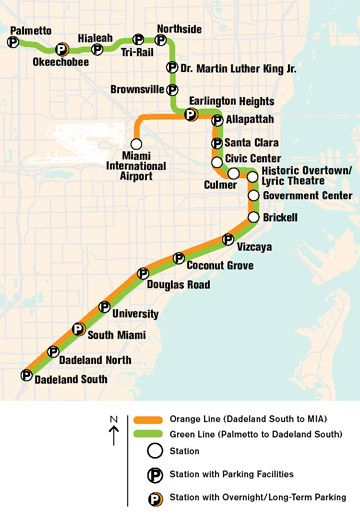 Metrorail map for Miami. We're flying down the day before our cruise on
