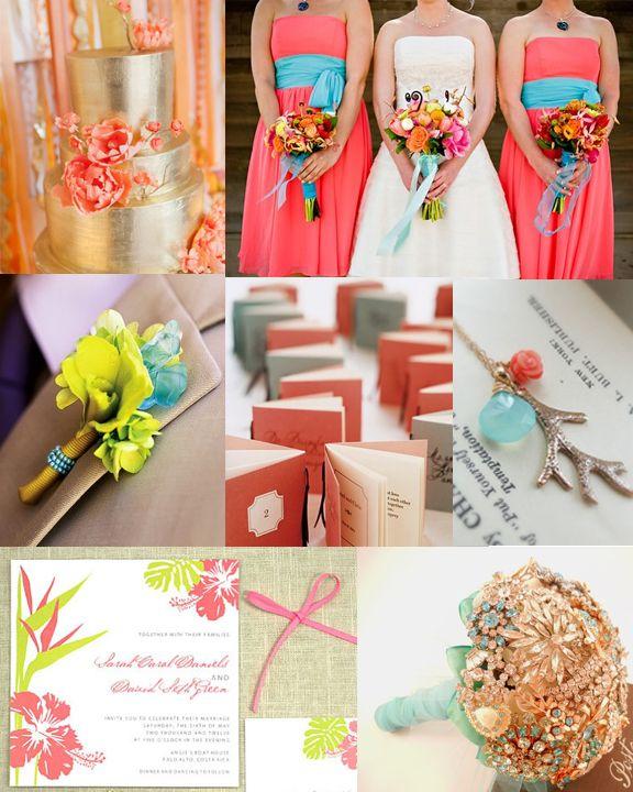 coral and green wedding   Coral, Aqua, Green and Gold Wedding ...