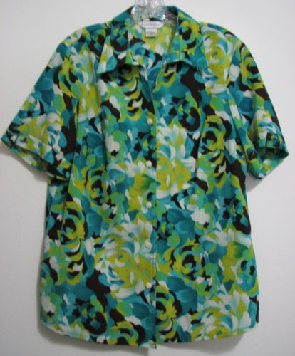 Allison-Daley-Sz-12-Green-Yellow-Floral-Polyester-S-S-Button-Blouse-Shirt-Top
