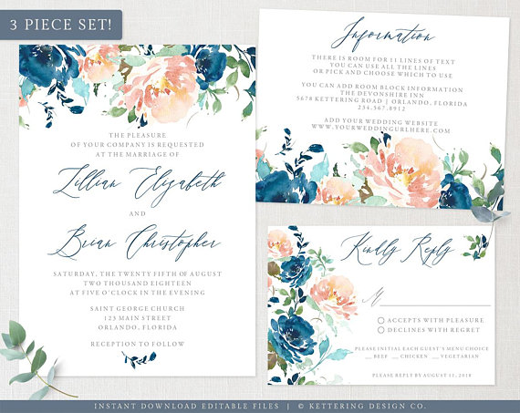 Editable PDF  Do It Yourself Blue Watercolor Wedding Invitation Suite INSTANT DOWNLOAD Printable