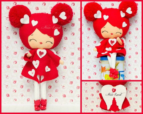 PDF. Valentine angel. Plush Doll Pattern, Softie Pattern, Soft felt ...