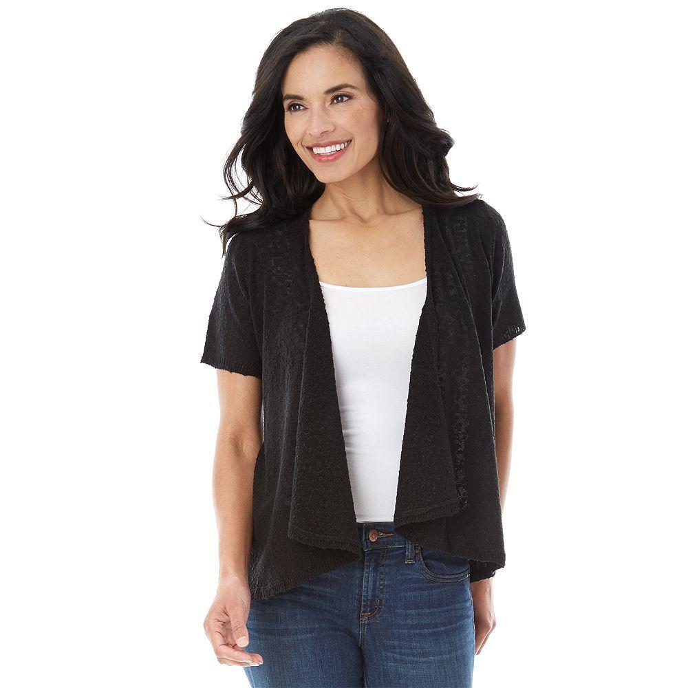 Women's AB Studio Short Sleeve Cardigan, Size: Small, Black ...