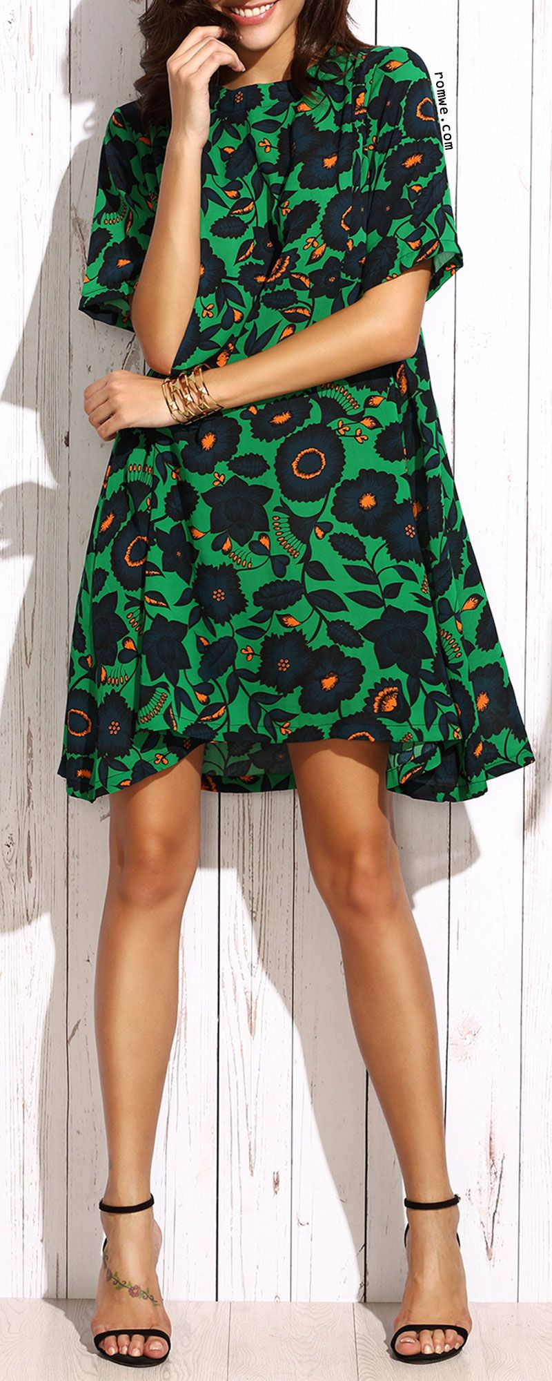 Dark green floral shift dress with black sandals romwe the