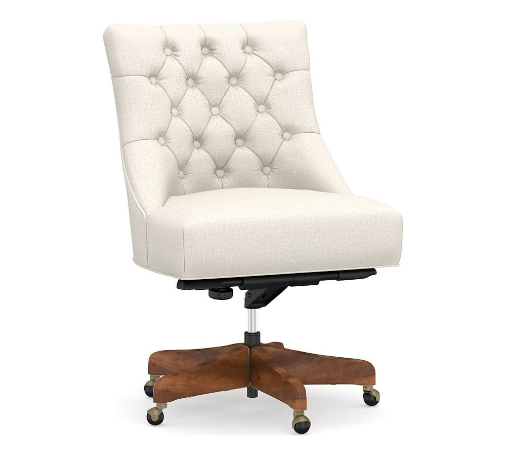 Hayes upholstered tufted swivel desk chair with mahogany