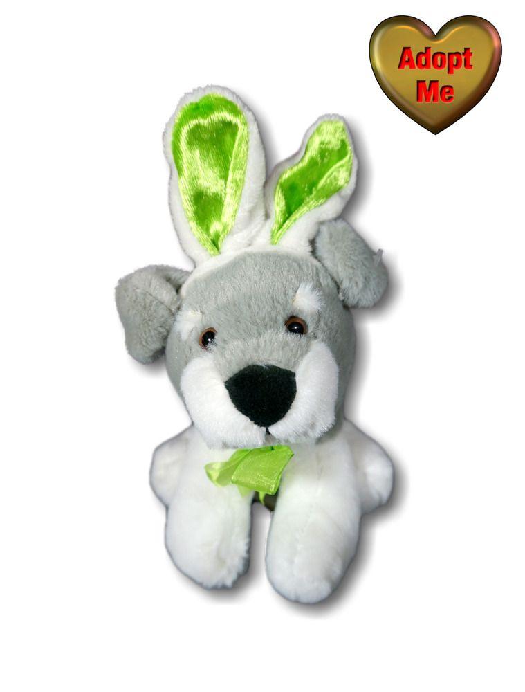 Dan Dee Gray White Schnauzer Puppy Dog Easter Bunny Ears Stuffed