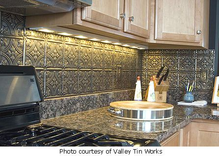 I Did This In My Kitchen Tin Back Splashit Looks Very Nice And Delectable Tin Backsplash For Kitchen Inspiration