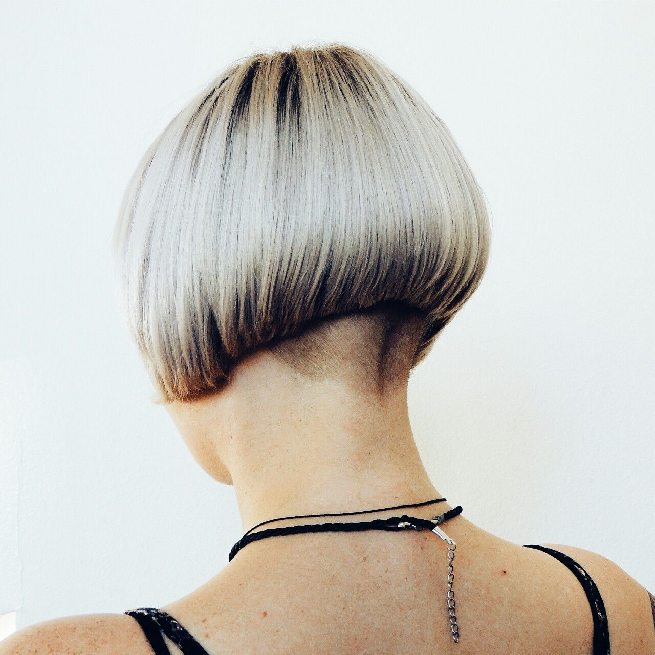 Curious Shaved bob haircut