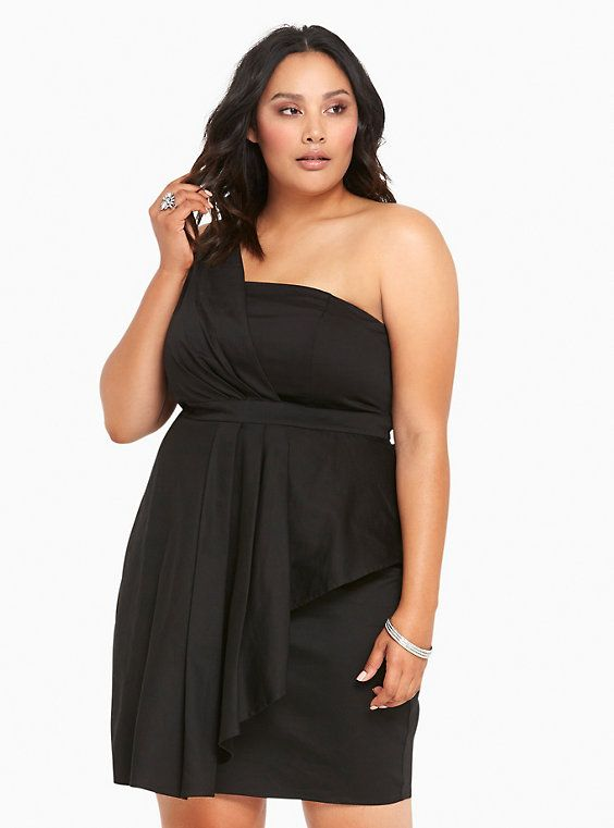 Pleated Sateen One Shoulder Dress Plus Size Inspiration