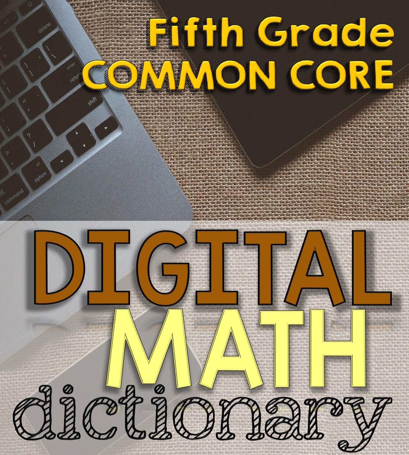 5th Grade Digital Math Dictionary For Common Core Math Vocabulary