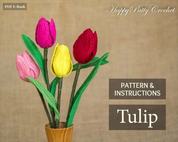 Crochet Flower Pattern - Tulip Flower - Crochet Flower Pattern - Romantic Gift - Valentine's Gift Idea - Instant Download