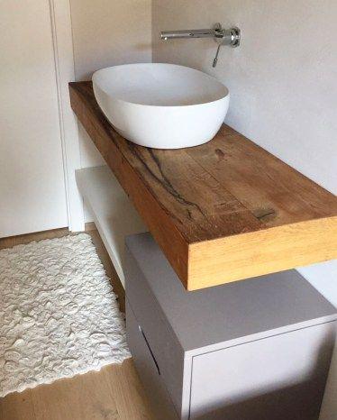 Cassettiera In Legno Su Misura.Mobile Bagno Con Mescola In Legno Naturale E Cassettiera Sumisura