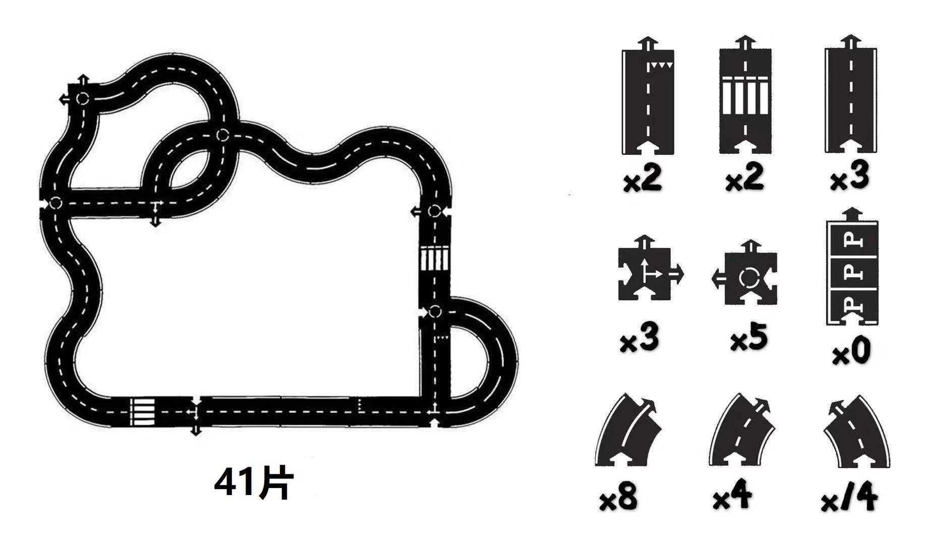 Photo of Kunststoff-Rennstrecke Lustiger Straßendruck Gebautes Autospur-Puzzle-Spielzeug