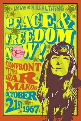 Vintage Retro Hippie Poster Anti War Peace Freedom Hippie