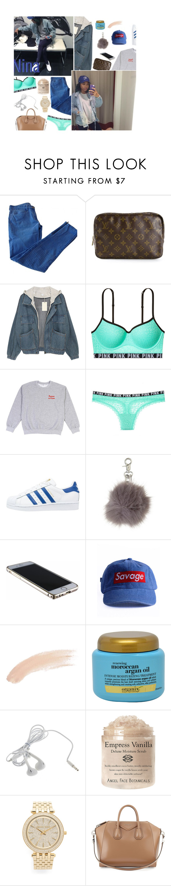 """Somebody make my hotline bliing"" by p-hysical ❤ liked on Polyvore featuring Sandro, Louis Vuitton, Victoria's Secret, adidas Originals, Topshop, Organix, Michael Kors, Givenchy, women's clothing and women"