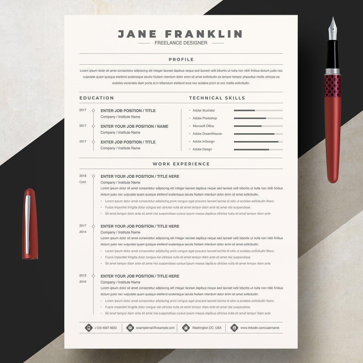 Professional Resume Template Minimalist CV Template Word
