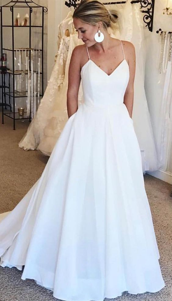 Photo of V Neck Ball Gown Spaghetti Straps Wedding Dresses with Pockets V Neck Ball Gown …