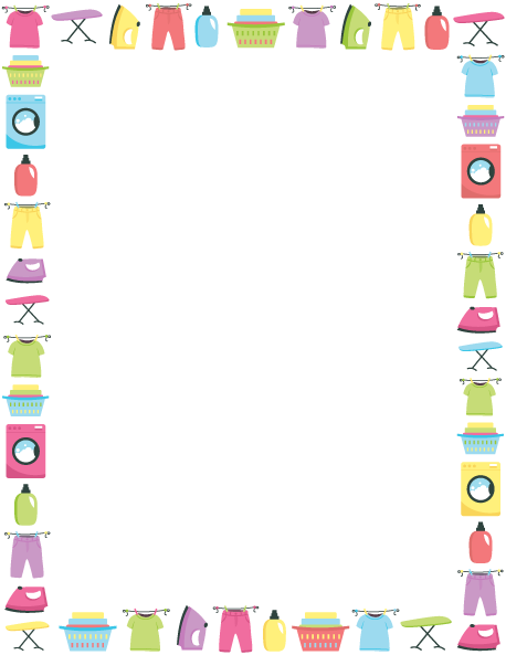 Printable laundry border. Use the border in Microsoft Word or other ...