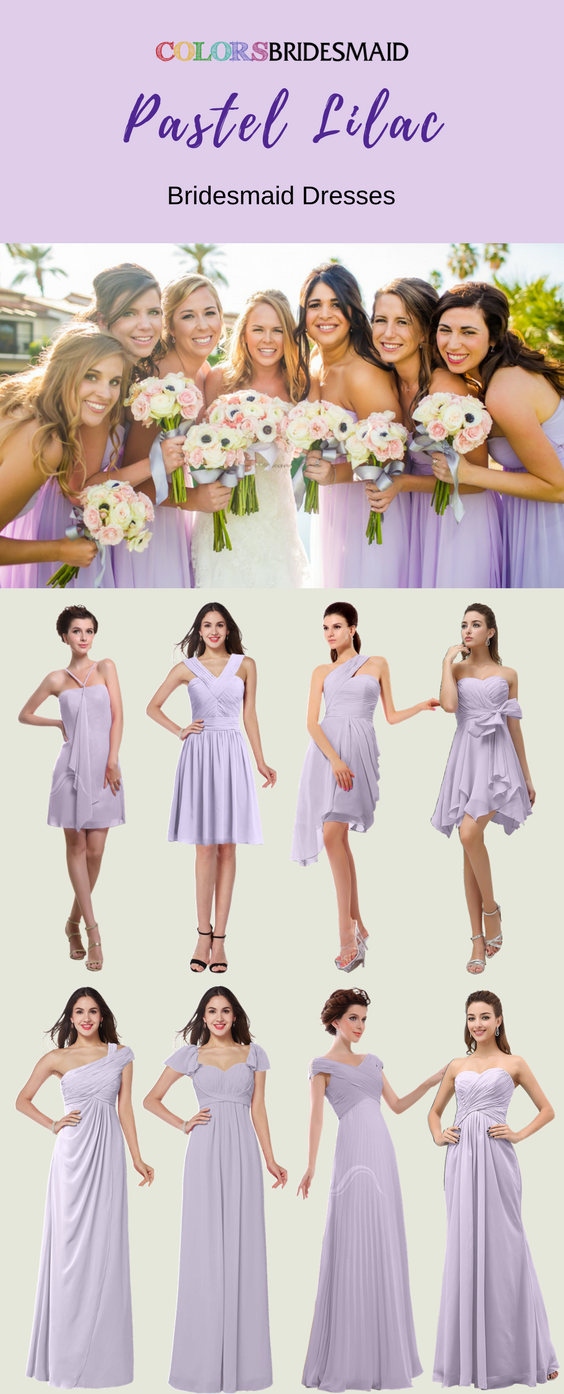 Stunning Pastel Lilac Bridesmaid Dresses In Short And Long Styles Lilac Bridesmaid Dresses Purple Bridesmaid Dresses Pink Bridesmaid Dresses Long