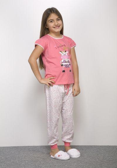 Hays Kids Penye Kız Çocuk Kapri Pijama Takımı - 4960