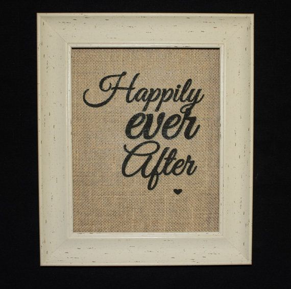Happily Ever After Burlap Print Wedding Print by MilsoMade on Etsy