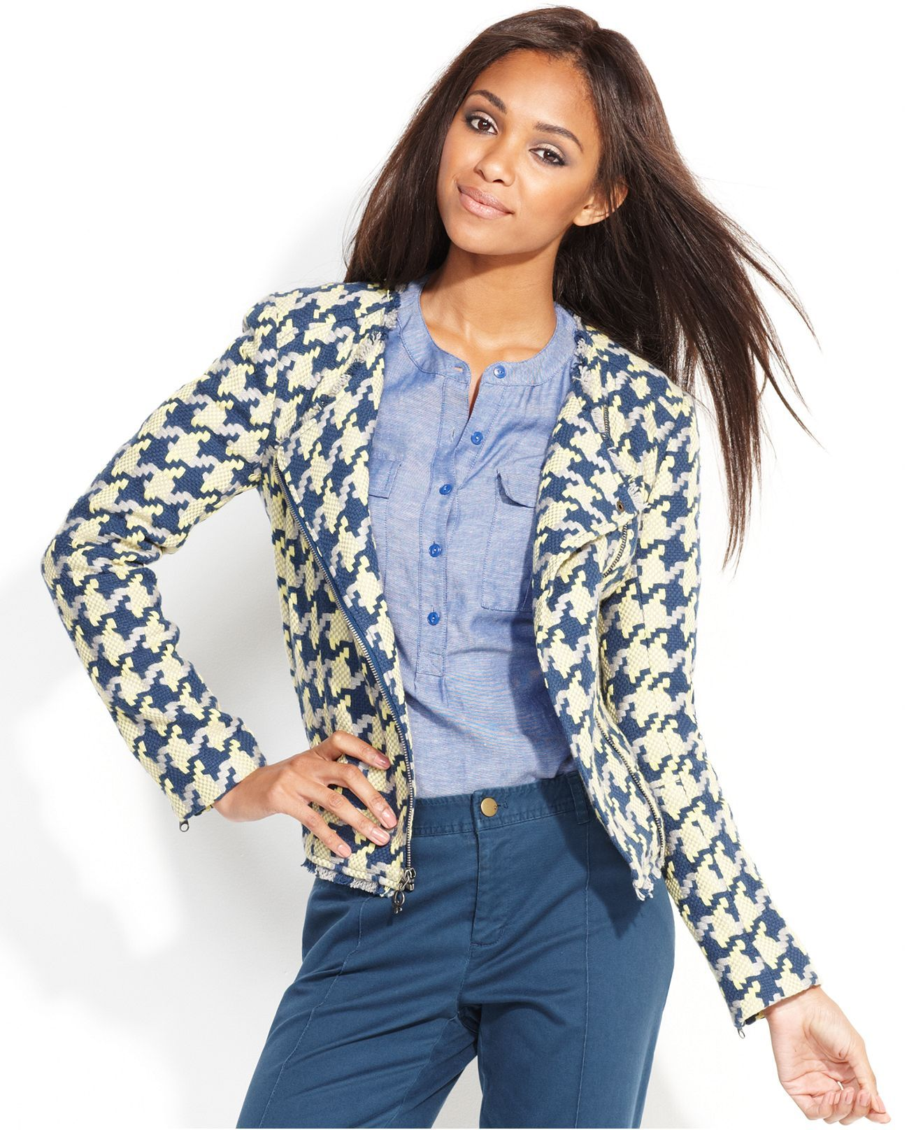 QMack Jacket, Long-Sleeve Houndstooth - Jackets & Blazers - Women ...
