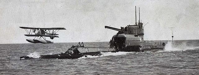 Submarine aircraft carrier HMS M2 Launches her Parnell Peto