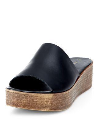 Black Leather Wooden Sole Mules | New Look