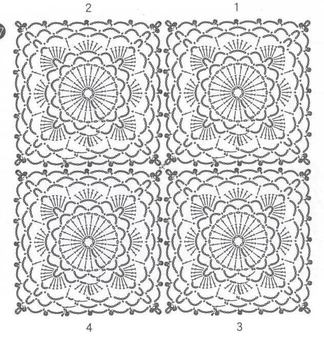 ClippedOnIssuu from Crochet lace flower applique | Cuadrados de ...