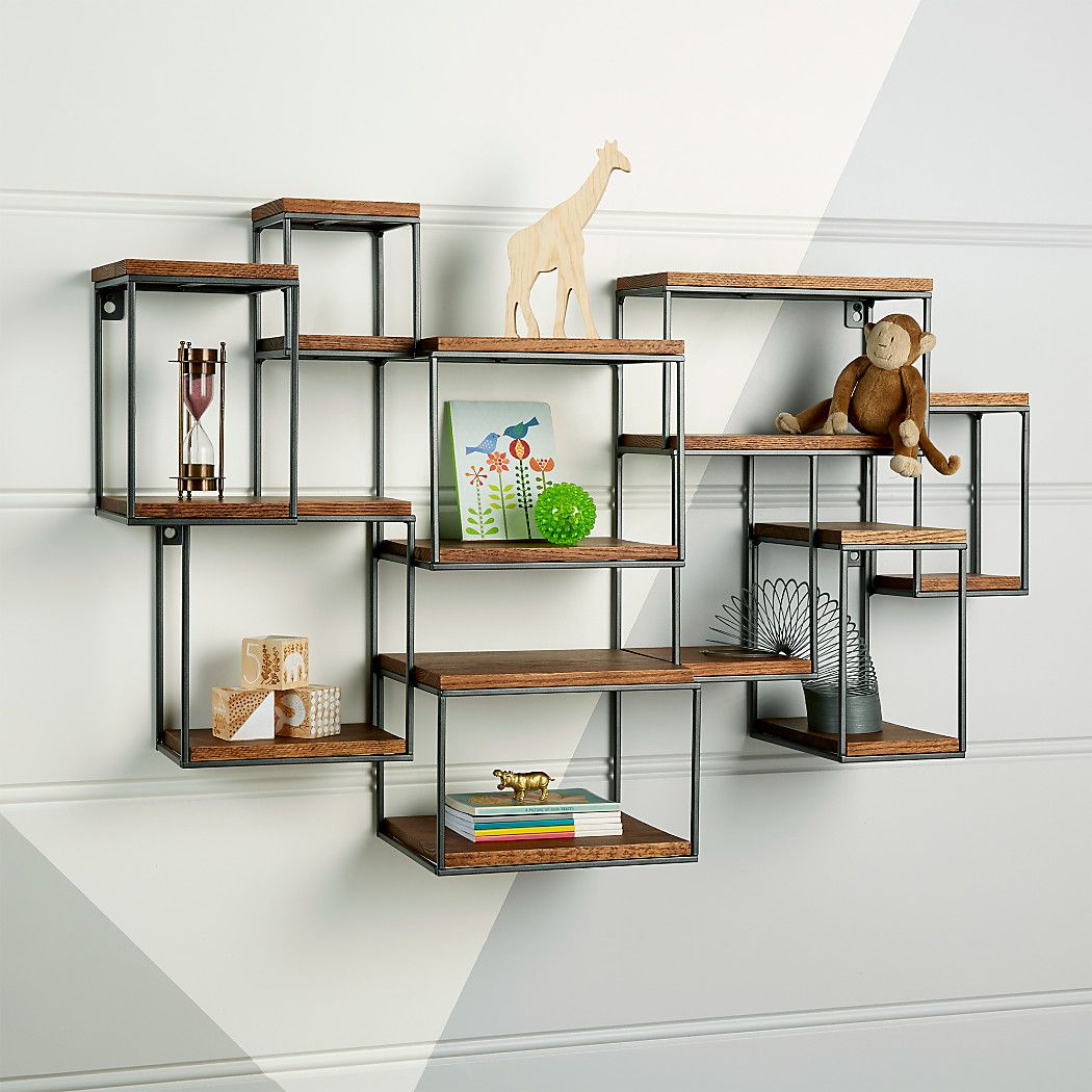 Wide Network Brown Wall Shelf Reviews Crate And Barrel Wall Shelves Brown Walls Wall Cubbies