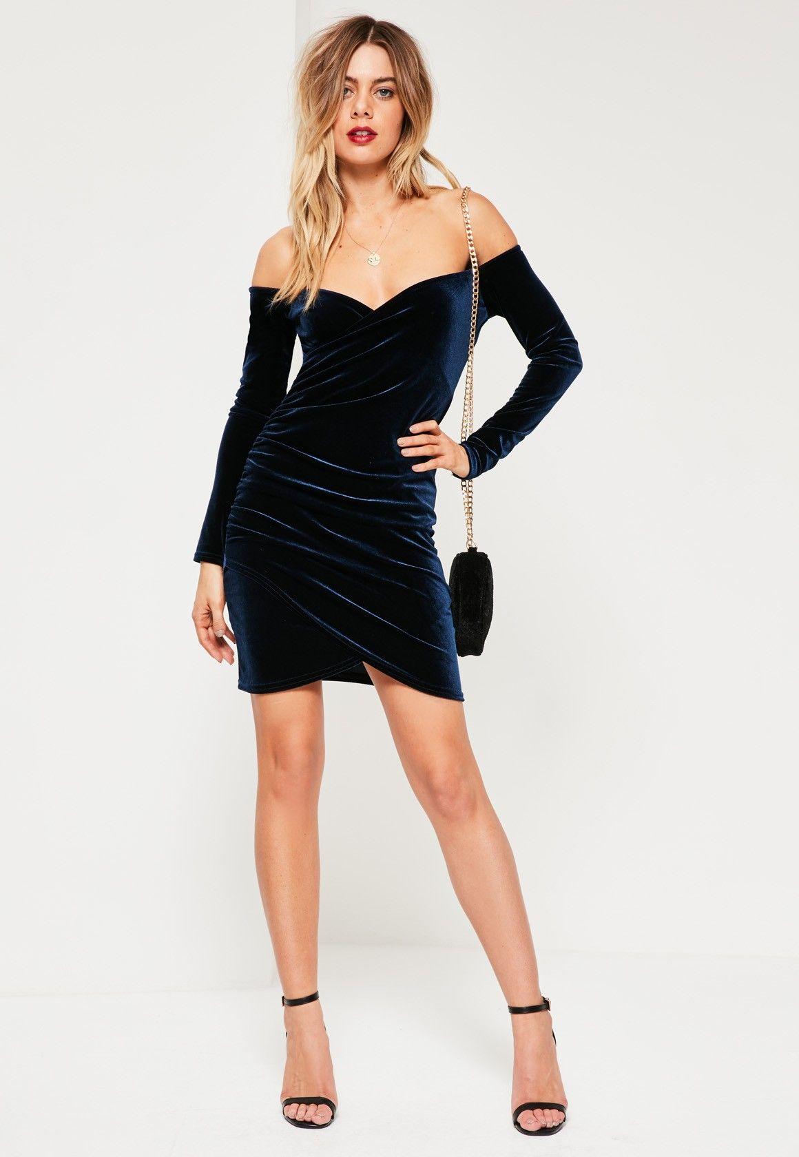 039c24cbe2 Missguided - Navy Bardot Wrap Long Sleeve Velvet Dress | I Love ...