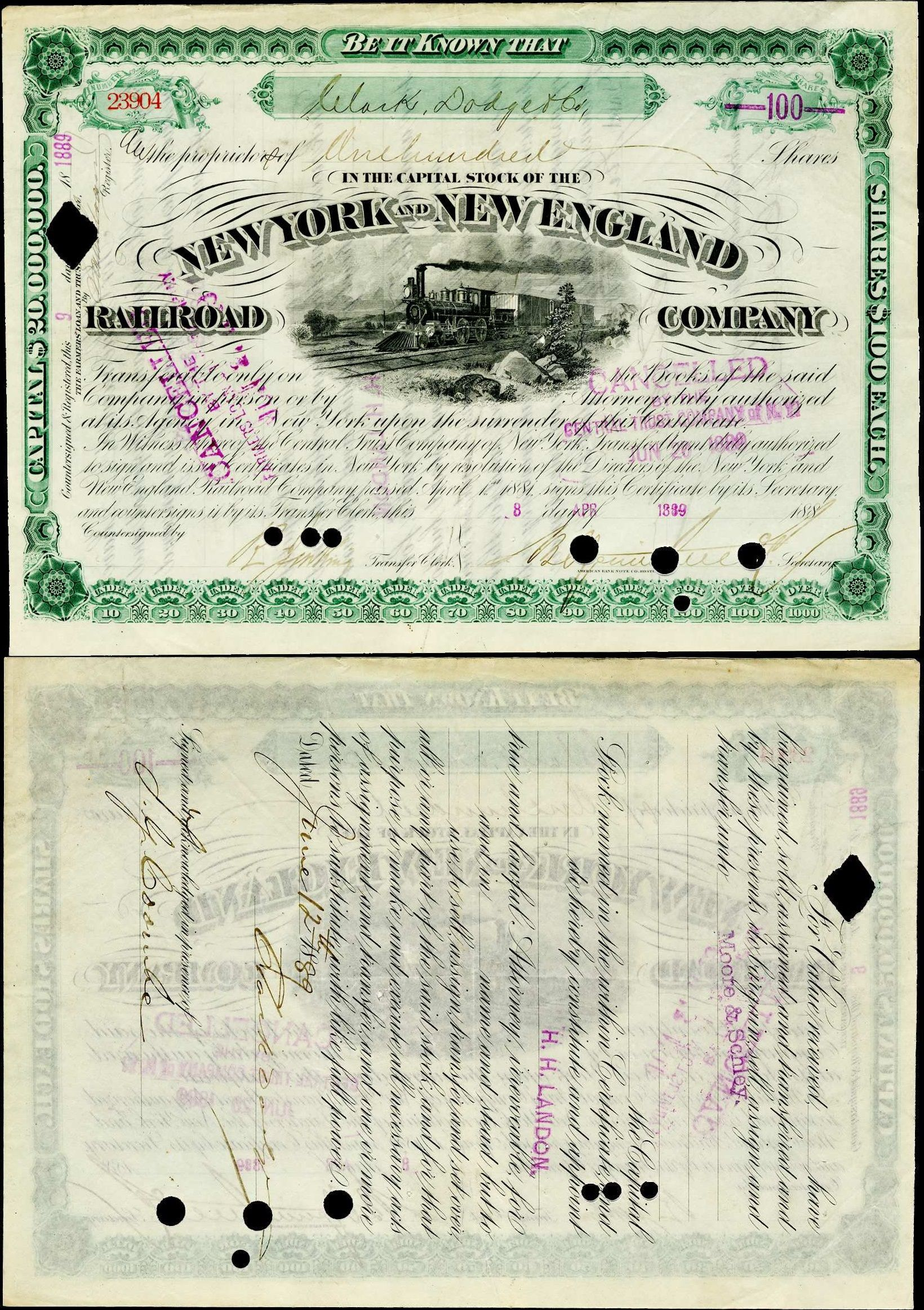 1889 New York New England Railroad Company Stock Certificate 100