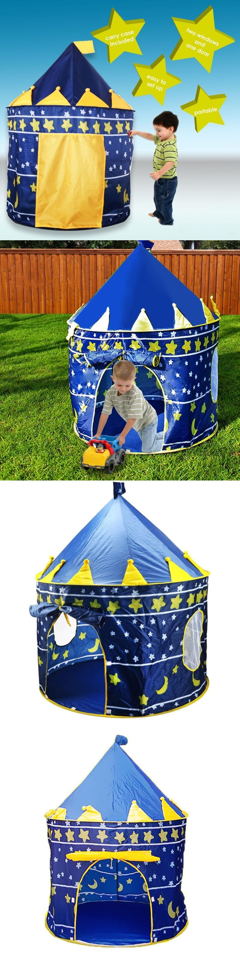 Tents Tunnels and Playhuts 145994 Portable Folding Kids Play Tent Blue Girl Princess Castle Outdoor & Tents Tunnels and Playhuts 145994: Portable Folding Kids Play Tent ...
