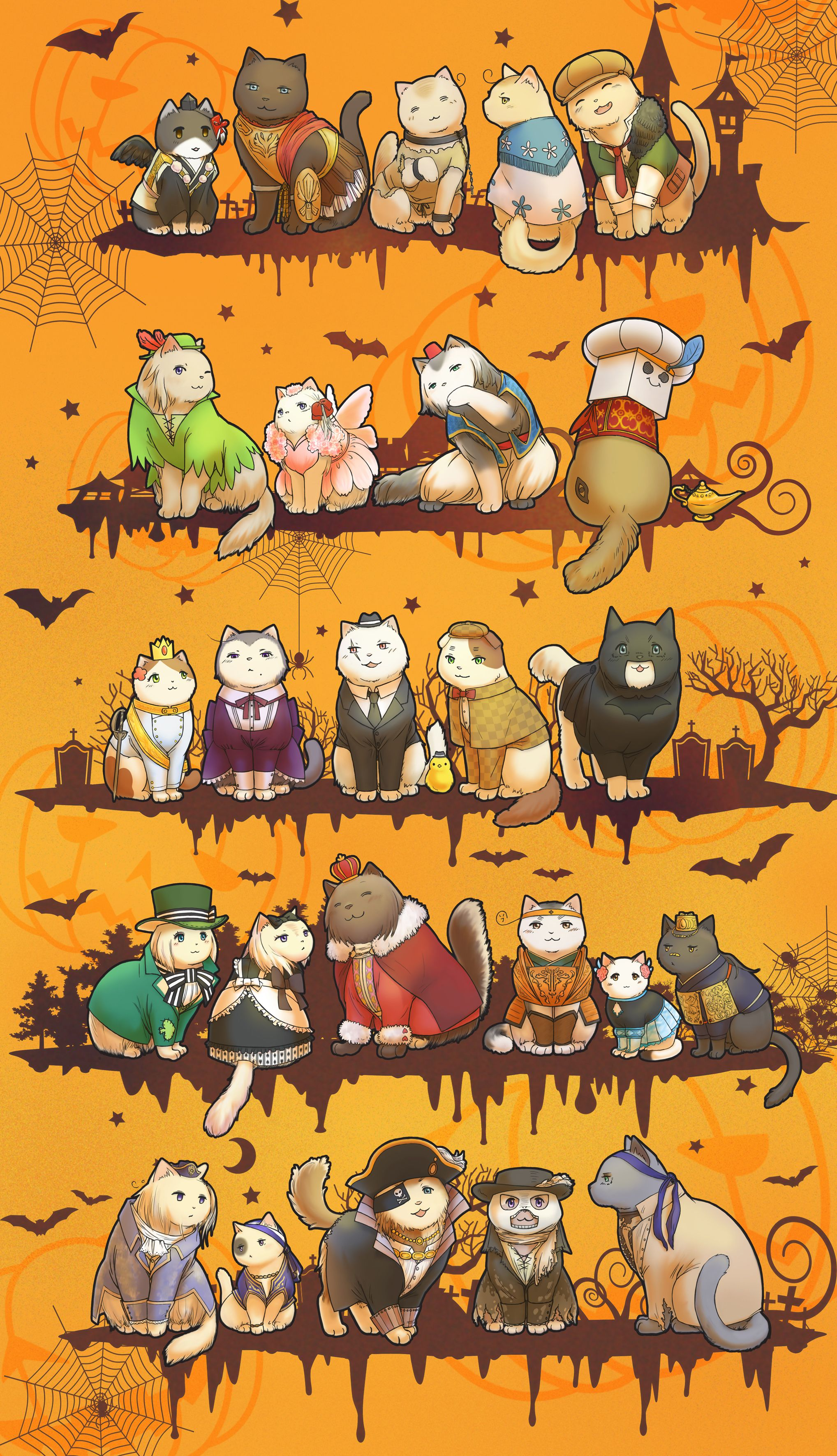Nekotalia - Japan, Germany, North Italy, South Italy, and Spain / France, Monaco, Greece, and Turkey / Hungary, Austria, Prussia, England, and America / Ukraine, Belarus, Russia, South Korea, Taiwan, and China / Norway, Iceland, Denmark, Finland, and Seden : Halloween Cats with their Officials Costumes